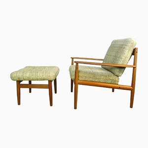 Danish Teak & Wool Easy Chair and Ottoman Set by Grete Jalk for Cado, 1960s