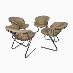 Italienische verchromte Esszimmerstühle von Gastone Rinaldi für Thema, 1970er, 4er Set