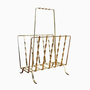 Twisted Golden Metal Magazine Rack, 1960s