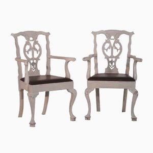 Antique Carved Armchairs with Leather Seats, Set of 2