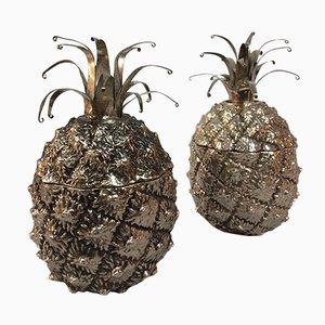 Boîtes à Thé Ananas en Argent Plaqué, Set de 2