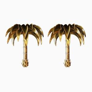 Lampade da parete a forma di palma di Maison Jansen, anni '70, set di 2