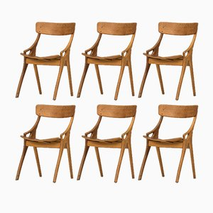 Dining Chairs by Arne Hovmand Olsen for Mogens Kold, 1958, Set of 6