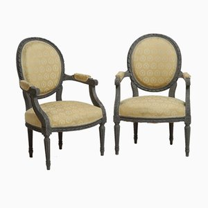 Antique Carved Armchairs, Set of 2