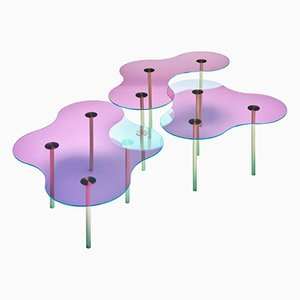 Glass Coffee Tables by Sebastian Scherer, Set of 3