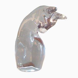 Vintage Kristallglas Katzen Skulptur von Daum