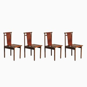 Mid-Century Walnut & Leather Chairs, 1960s, Set of 4