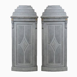Antique Gustavian Corner Cabinets, Set of 2
