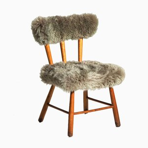 Mid-Century Beech & Lamb's Wool Chair, 1960s