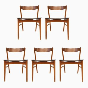 Mid-Century No. 206 Danish Teak & Leatherette Chairs from Farstrup, 1960s, Set of 5