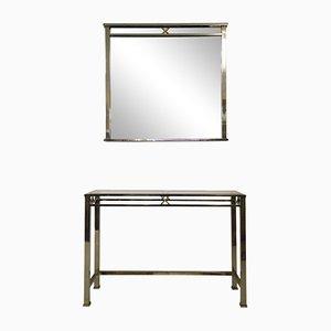 Stahl und Messing Konsolentisch und Spiegel Set, 1970er
