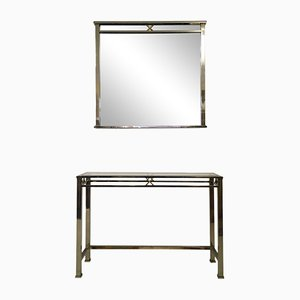 Steel and Brass Console Table and Mirror Set, 1970s
