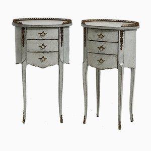 Mesas auxiliares vintage montadas en bronce. Juego de 2