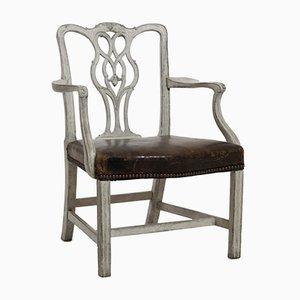 Poltrona antica con seduta in pelle