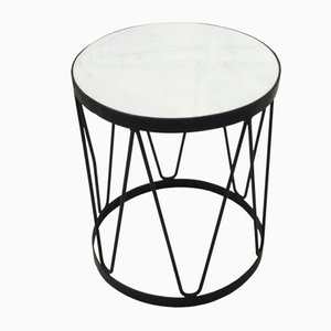 Painted Metal and Marble Side Table, 1950s