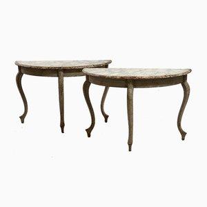 Antike schwedische halbrunde Tische, 2er Set