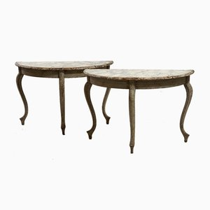 Mesas suecas antiguas en forma de medialuna. Juego de 2
