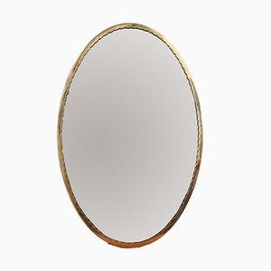 Specchio Mid-Century con cornice in ottone, Italia, anni '50