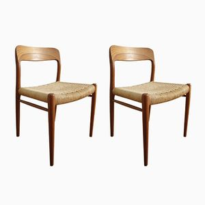 Model 75 Dining Chairs In Teak by Niels Møller for J.L. Møllers, 1960s, Set of 2