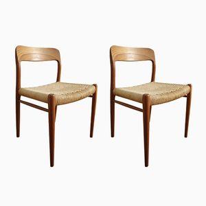 Sedie da pranzo modello 75 in teak di Niels Møller per J.L. Møllers, anni '60, set di 2