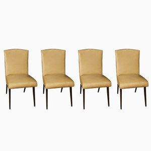 Italian Faux Leather Side Chairs by Vittorio Dassi, 1950s, Set of 4