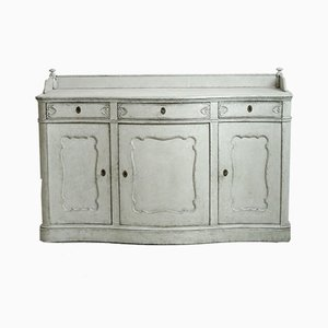 Large Antique Serpentine Sideboard with Curved Front and Three Doors