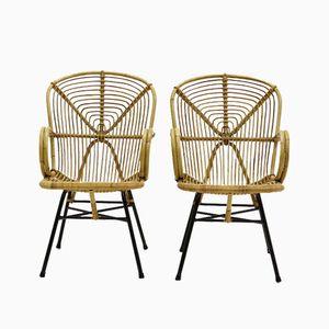Rattan Beistellstühle von Dirk van Sliedregt, 1950er, 2er Set