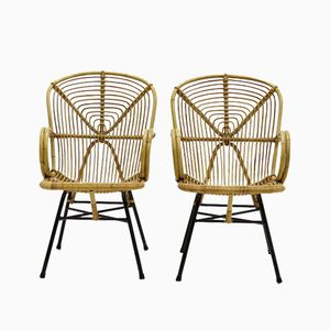 Rattan Side Chairs by Dirk van Sliedregt, 1950s, Set of 2