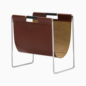 Leather and Chrome Magazine Rack from Brabantia, 1970s