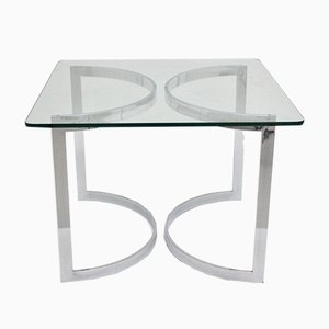 Mesa de comedor de vidrio y metal cromado de Merrow Associates, años 70