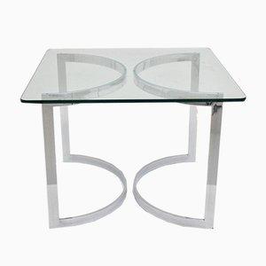 Tavolo da pranzo in vetro e placcato in cromo di Merrow Associates, anni '70