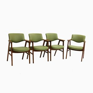 Teak & Leather Armchairs by Erik Kirkegaard for Høng Stolefabrik, Set of 4