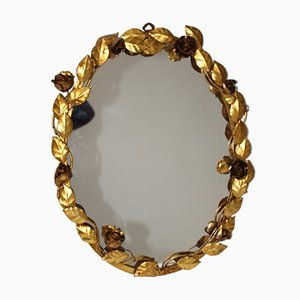 Espejo de pared italiano dorado, años 50
