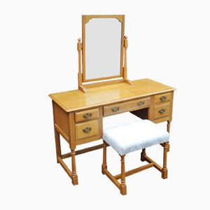 Golden Oak Dressing Table and Stool from Titmarsh and Goodwin, 1980s