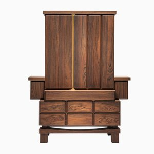 Brass & Walnut Cupboard by Antonio Aricò for Editamateria