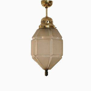 Vintage Art Deco Frosted Glass and Brass Ceiling Lamp