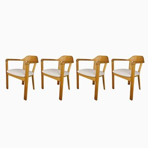 Oak Armchairs, 1970s, Set of 4