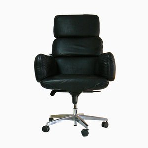 Executive Black Leather Desk Chair by Otto Zapf for Topstar, 1970s