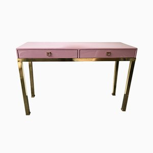 French Lacquered and Brass Console by Guy Lefevre for Maison Jansen, 1970s