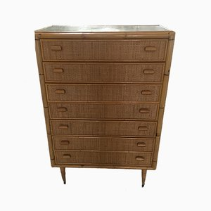 Mid-Century Italian Modern Bamboo Chest of Drawers, 1970s