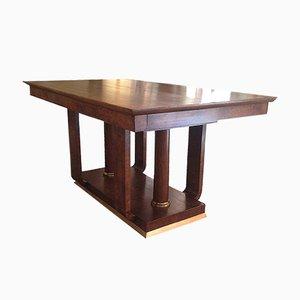 Art Deco Tisch aus Messing und Holz, 1930er