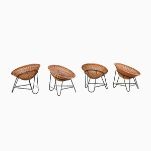 Wicker Chairs on Tripod Base, 1950s, Set of 4