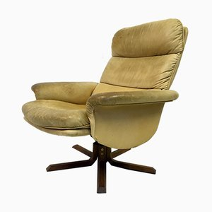 Danish Leather Reclining Swivel Chair from Dyrlund, 1970s