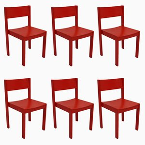 Stackable Red Dining Chairs from E. & A. Pollak, Set of 6