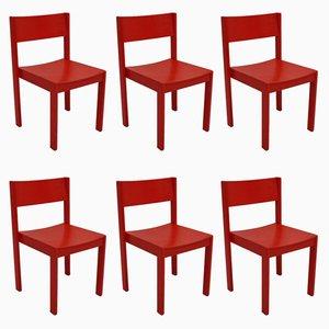 Stapelbare rote Esszimmerstühle von E. & A. Pollak, 6er Set