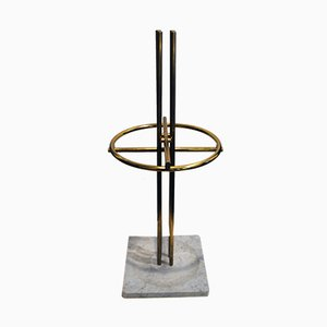 Italian Brass and Marble Umbrella Stand, 1950s