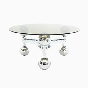 Sputnik Chrome Coffee Table with Glass Top, 1970s
