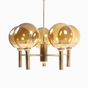 Lámpara de araña de vidrio y latón de Hans-Agne Jakobsson, años 60