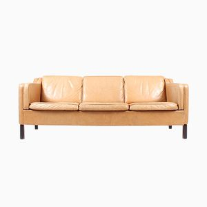 3-Seater Danish Tan Leather Sofa, 1980s