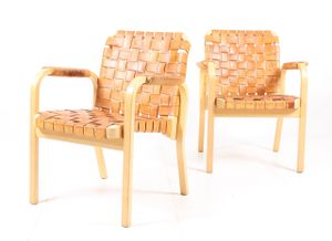 Model 45 Armchairs by Alvar Aalto for Artek, 1950s, Set of 2